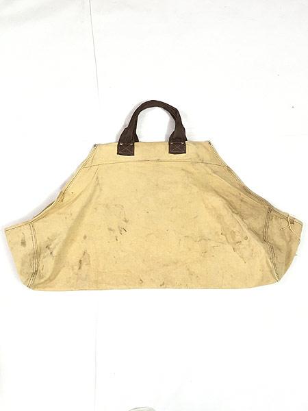 [4] 雑貨 古着 70-80s オールド ブラウン ダック キャンバス ツール トート バッグ 大型 古着