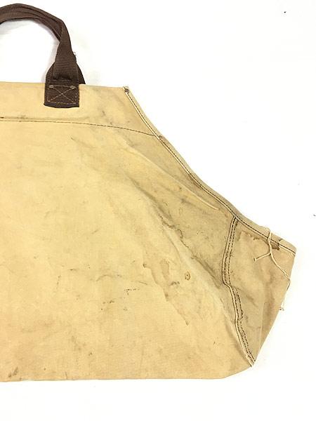 [5] 雑貨 古着 70-80s オールド ブラウン ダック キャンバス ツール トート バッグ 大型 古着