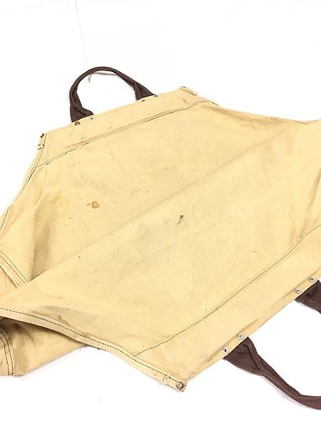 [6] 雑貨 古着 70-80s オールド ブラウン ダック キャンバス ツール トート バッグ 大型 古着