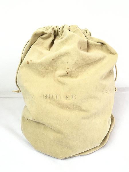 [1] 雑貨 古着 40s 米軍 ステンシル キャンバス コットン 巾着型 ランドリー バッグ 刺しゅう 大型 古着
