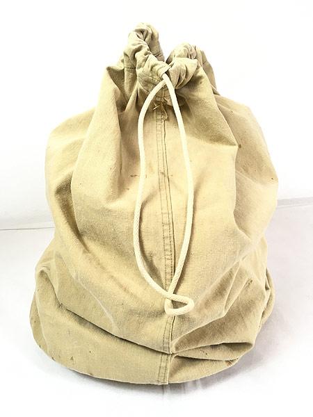 [2] 雑貨 古着 40s 米軍 ステンシル キャンバス コットン 巾着型 ランドリー バッグ 刺しゅう 大型 古着