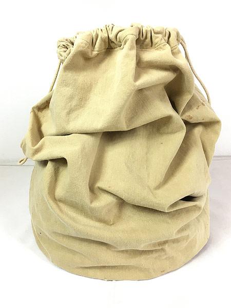 [3] 雑貨 古着 40s 米軍 ステンシル キャンバス コットン 巾着型 ランドリー バッグ 刺しゅう 大型 古着