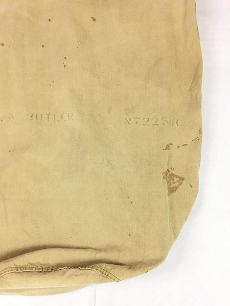 [6] 雑貨 古着 40s 米軍 ステンシル キャンバス コットン 巾着型 ランドリー バッグ 刺しゅう 大型 古着