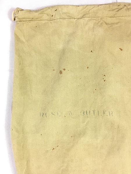 [7] 雑貨 古着 40s 米軍 ステンシル キャンバス コットン 巾着型 ランドリー バッグ 刺しゅう 大型 古着
