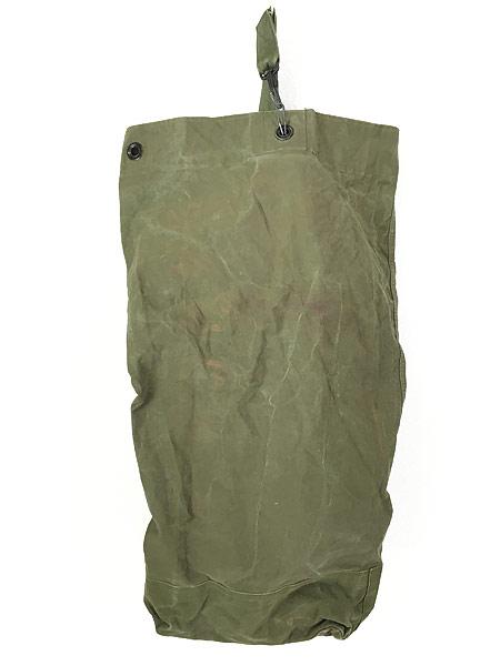 [2] 雑貨 古着 70s 米軍 US ARMY ミリタリー ステンシル キャンバス 巾着型 ダッフル バック 大型 古着