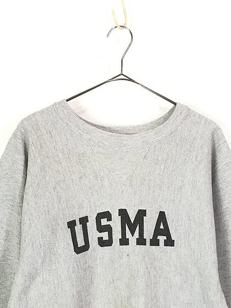 [2] 古着 80s USA製 Champion Reverse-Weave 「USMA」 染み込み 前V ミリタリー リバース スウェット XL 美品!! 古着