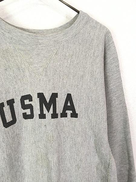 [6] 古着 80s USA製 Champion Reverse-Weave 「USMA」 染み込み 前V ミリタリー リバース スウェット XL 美品!! 古着