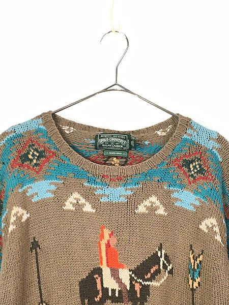 [2] 古着 90s POLO Country Ralph Lauren ポロカン ネイティヴ インディアン ハンド ニット セーター M 古着