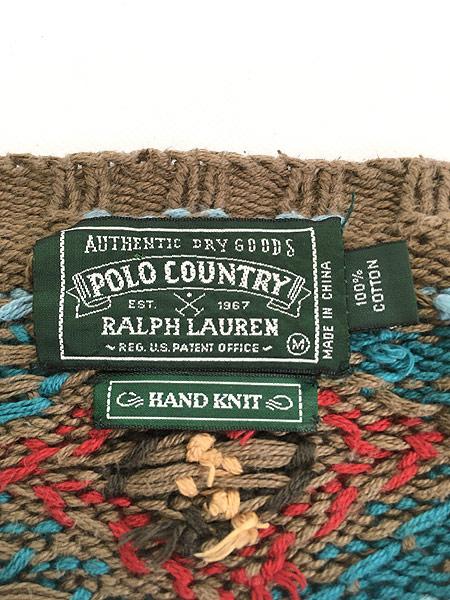 [5] 古着 90s POLO Country Ralph Lauren ポロカン ネイティヴ インディアン ハンド ニット セーター M 古着