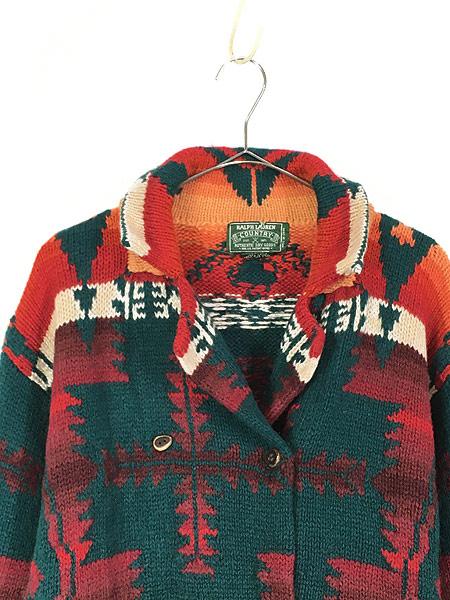 [2] 古着 80s Ralph Lauren Country ポロカン 「Santa Fe」 ネイティヴ ハンド ニット ウール ガウン カーディガン S 古着