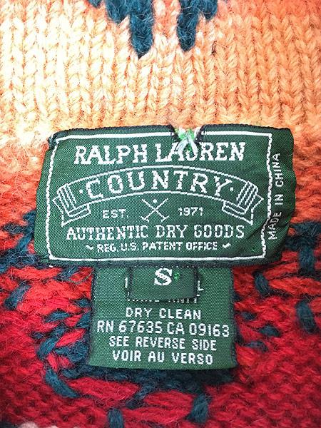 [7] 古着 80s Ralph Lauren Country ポロカン 「Santa Fe」 ネイティヴ ハンド ニット ウール ガウン カーディガン S 古着