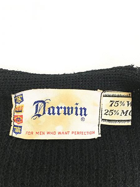 [6] 古着 60s Darwin ソリッド シャギー モヘア ニット カーディガン 黒!! 2XL位 古着