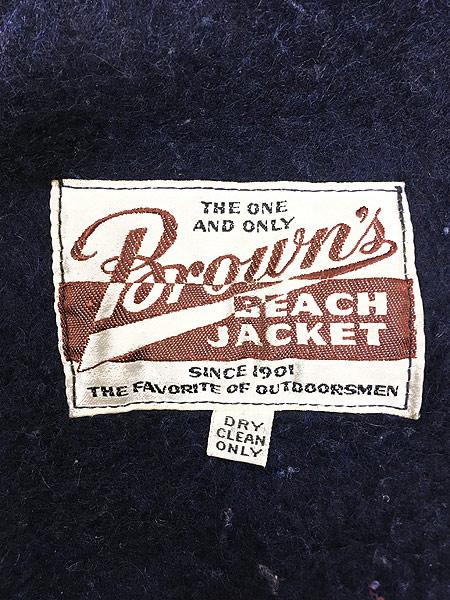 [6] 古着 50s Brown's Beach Jacket レア ネイビー ごま塩 ウール ビーチ ジャケット 42 美品!! 古着