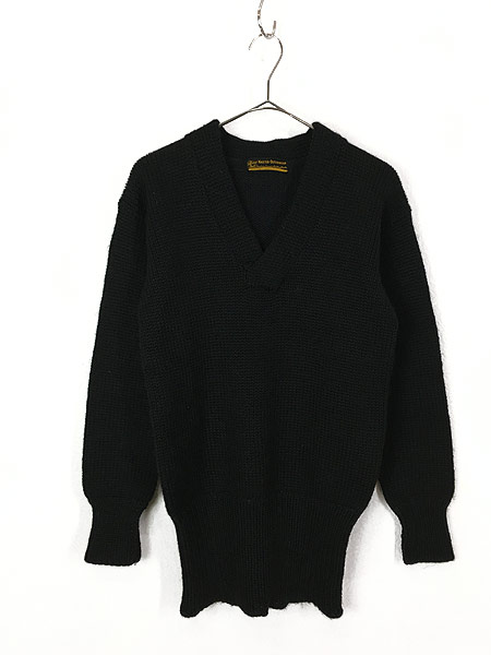 [1] 古着 30-40s Superior Knit 腹巻きリブ ローゲージ ヘビー ウール スクール ニット セーター 黒 L位 古着