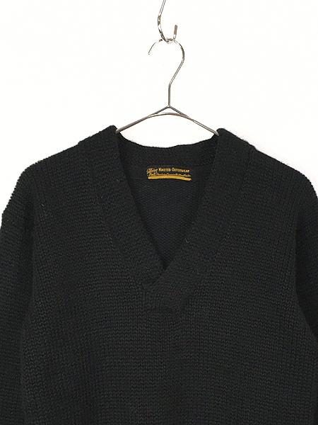 [2] 古着 30-40s Superior Knit 腹巻きリブ ローゲージ ヘビー ウール スクール ニット セーター 黒 L位 古着