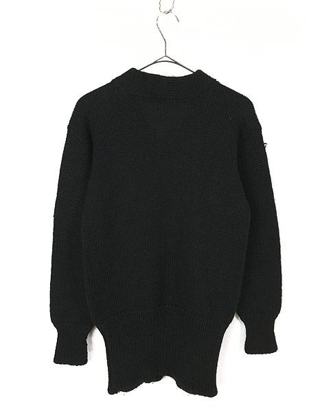 [3] 古着 30-40s Superior Knit 腹巻きリブ ローゲージ ヘビー ウール スクール ニット セーター 黒 L位 古着