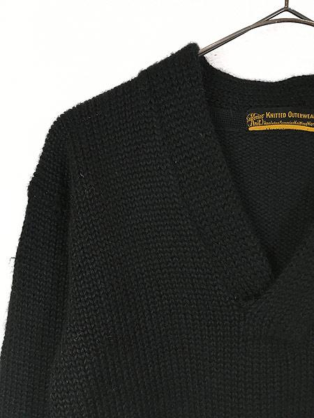 [5] 古着 30-40s Superior Knit 腹巻きリブ ローゲージ ヘビー ウール スクール ニット セーター 黒 L位 古着