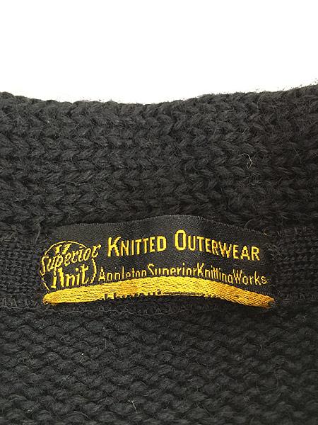 [6] 古着 30-40s Superior Knit 腹巻きリブ ローゲージ ヘビー ウール スクール ニット セーター 黒 L位 古着
