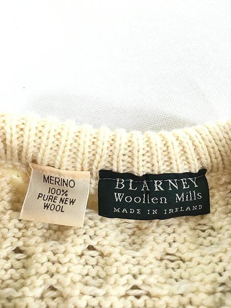 [5] 古着 80s IRELAND製 Blarney ローゲージ ウール アラン フィッシャーマン ニット セーター M 古着