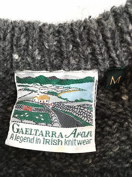 [6] 古着 80s IRELAND製 GAELTARRA モノトーン ネップ アラン フィッシャーマン ニット セーター M 古着