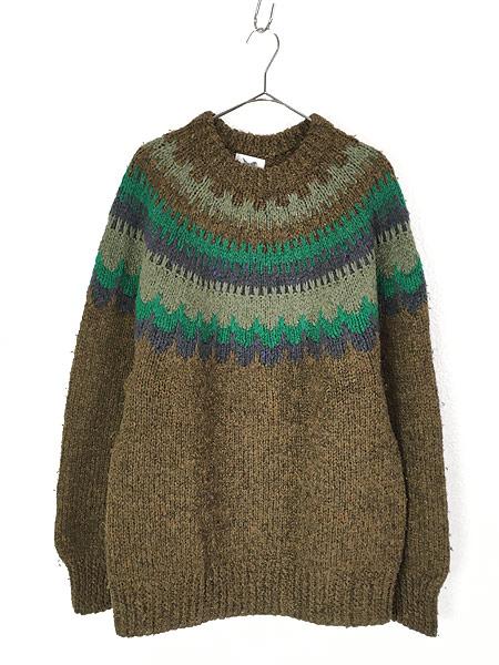[1] 古着 デンマーク製 Danspun ノルディック スカンジナビアン ヘビー ウール ハンド ニット セーター XL位 古着