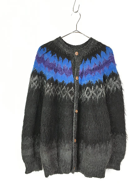 [1] 古着 80s ボリビア製 Rey Wear ノルディック柄 100% アルパカ ウール ニット カーディガン XL位 古着