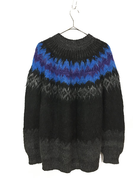 [3] 古着 80s ボリビア製 Rey Wear ノルディック柄 100% アルパカ ウール ニット カーディガン XL位 古着