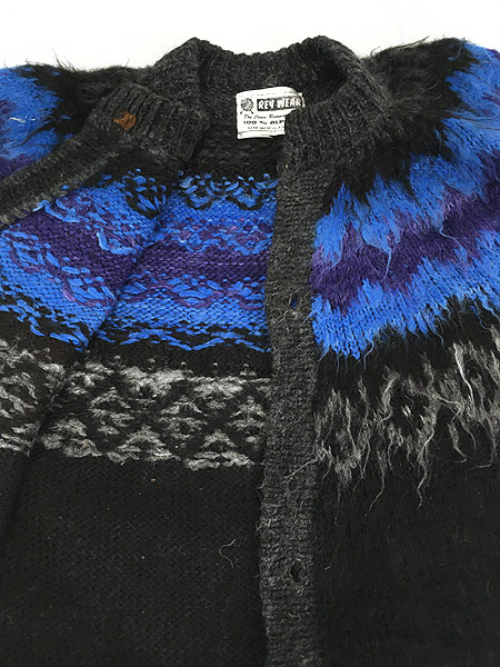 [5] 古着 80s ボリビア製 Rey Wear ノルディック柄 100% アルパカ ウール ニット カーディガン XL位 古着