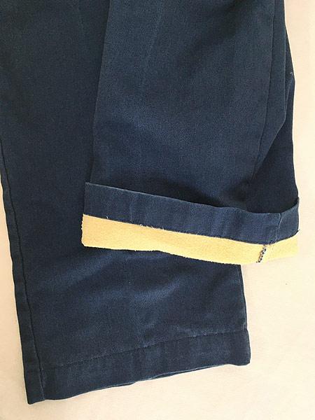 [5] 古着 80s USA製 Dickies 防寒 起毛ライナー オールド ワーク チノ パンツ ストレート W34 L31 古着