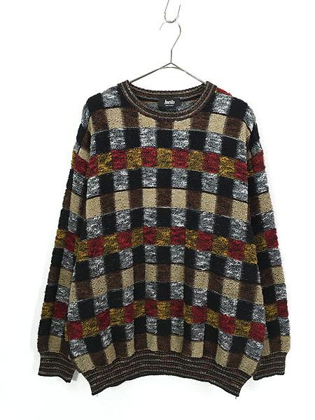[1] 古着 イタリア製 invito カラフル ブロック もこもこ ループ ニット セーター XL位 古着