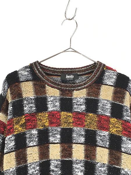[2] 古着 イタリア製 invito カラフル ブロック もこもこ ループ ニット セーター XL位 古着