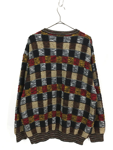 [3] 古着 イタリア製 invito カラフル ブロック もこもこ ループ ニット セーター XL位 古着
