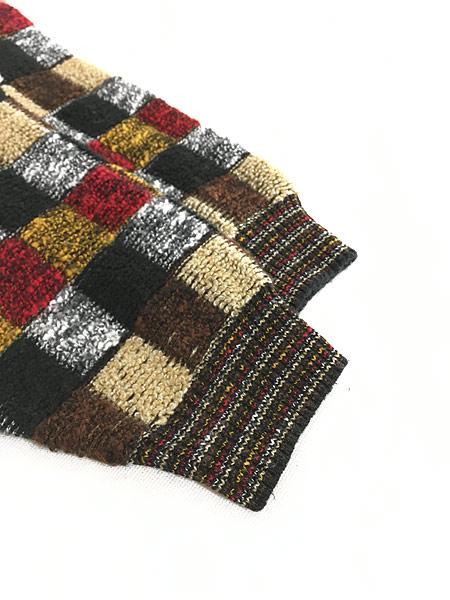 [4] 古着 イタリア製 invito カラフル ブロック もこもこ ループ ニット セーター XL位 古着