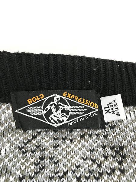 [5] 古着 90s USA製 BODY EXPRESSION 日の出 幾何学 総柄 コットン ニット セーター XL 古着