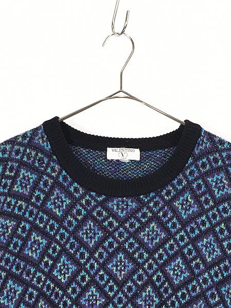 [2] 古着 90s Valentino ヴァレンティノ フラワー パターン ウール ニット セーター XL ブランド 古着