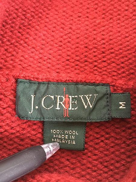 [5] 古着 80s J Crew 太ピッチ ボーダー ハイネック ウール ニット セーター M 古着