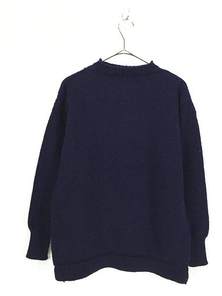 [3] 古着 60-70s 人気 ガンジー ニット オールド モックネック ヘビー ウール ニット セーター XL位 古着