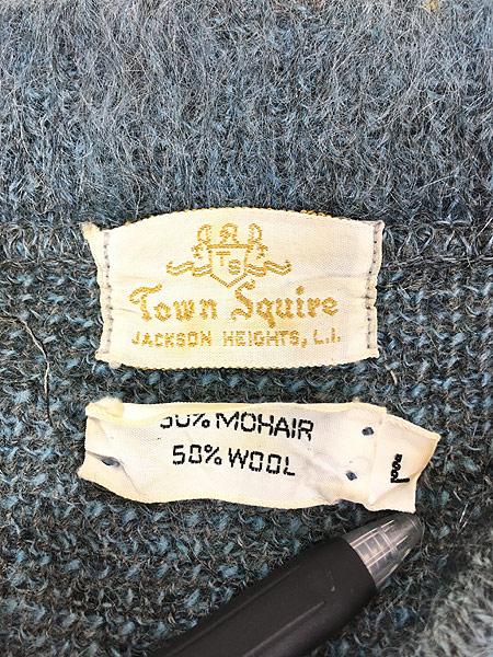 [8] 古着 60s Town Squire 2トーン ボーダー ヘンリー ネック シャギー モヘア ニット セーター L 古着