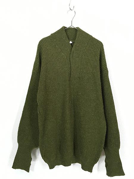 [1] 古着 90s フィンガーホール ローゲージ ウール メカニック ニット セーター S 古着