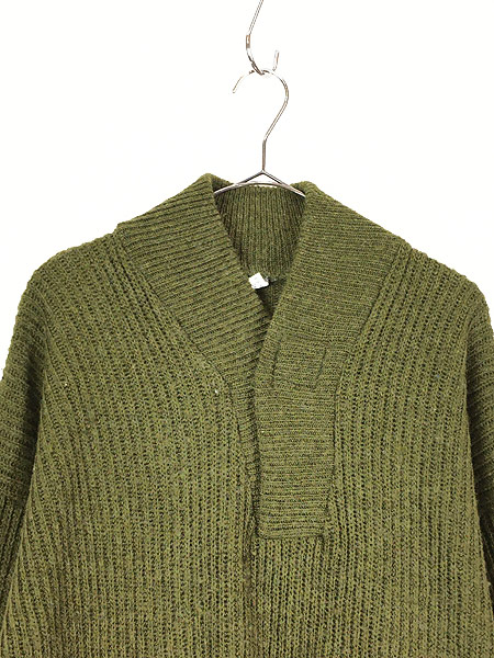 [2] 古着 90s フィンガーホール ローゲージ ウール メカニック ニット セーター S 古着