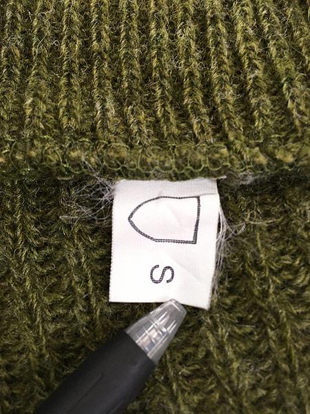 [6] 古着 90s フィンガーホール ローゲージ ウール メカニック ニット セーター S 古着