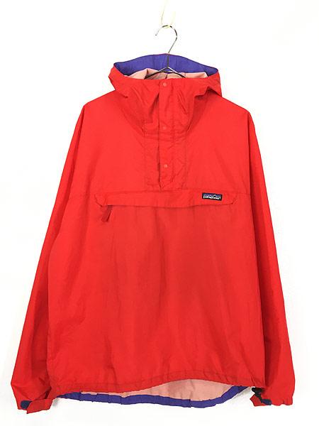 [1] 古着 93s USA製 Patagonia スナップ 軽量 リップストップ シェル アノラック パーカー ジャケット パッカブル L 古着