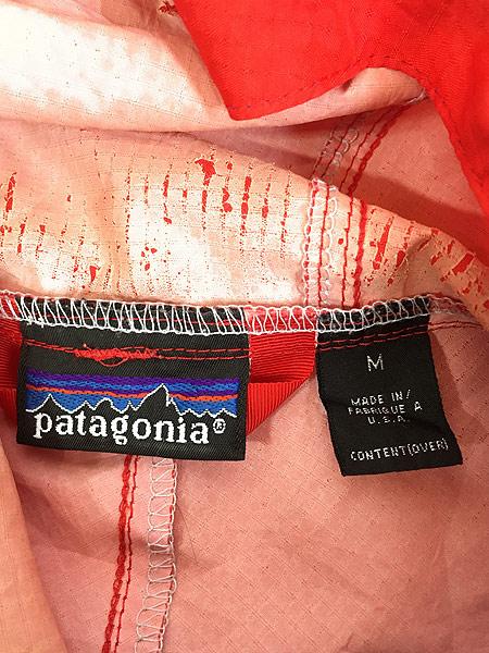 [6] 古着 93s USA製 Patagonia スナップ 軽量 リップストップ シェル アノラック パーカー ジャケット パッカブル L 古着