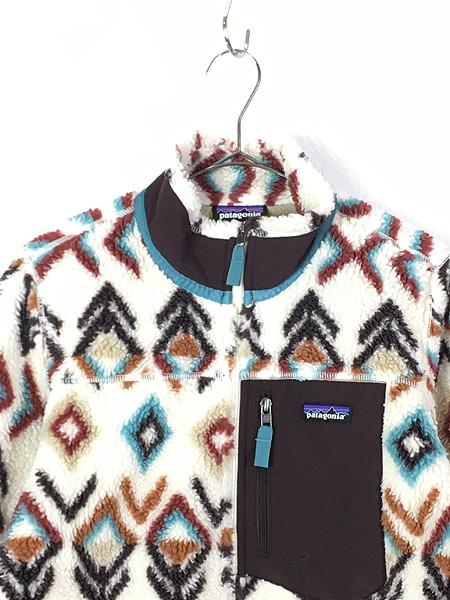 [2] 古着 16s Patagonia クラシック レトロX ネイティブ 総柄 もこもこ フリース ボア ジャケット 美品!! M 古着