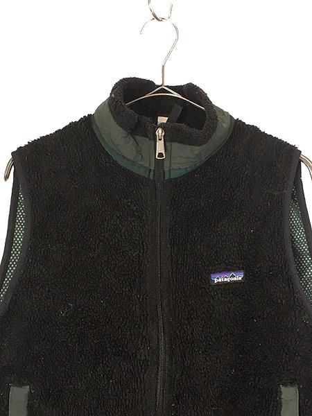 [2] 古着 90s USA製 Patagonia 人気 初期 レトロX PEFメッシュ もこもこ パイル フリース ベスト 黒 M 古着