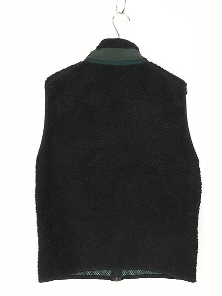 [3] 古着 90s USA製 Patagonia 人気 初期 レトロX PEFメッシュ もこもこ パイル フリース ベスト 黒 M 古着