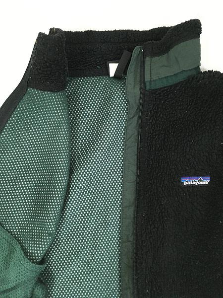 [4] 古着 90s USA製 Patagonia 人気 初期 レトロX PEFメッシュ もこもこ パイル フリース ベスト 黒 M 古着
