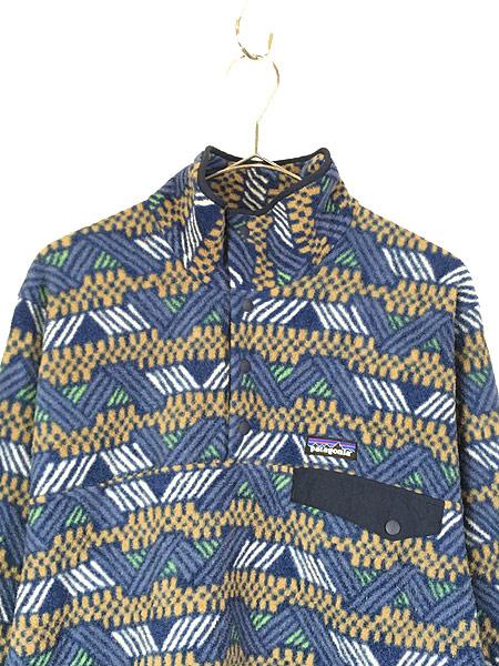 [2] 古着 18s Patagonia 幾何学 総柄 プルオーバー フリース ジャケット CICN S 古着