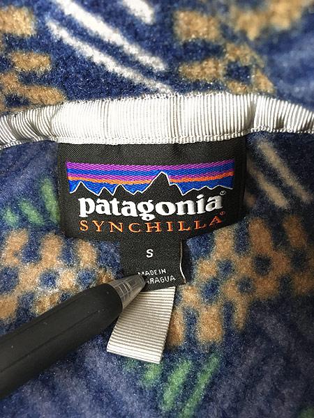 [5] 古着 18s Patagonia 幾何学 総柄 プルオーバー フリース ジャケット CICN S 古着