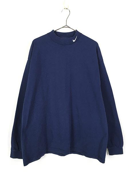 [1] 古着 90s USA製 NIKE スウォッシュ ワンポイント ハイネック ロング スリーブ Tシャツ ロンT 紺 XL 古着